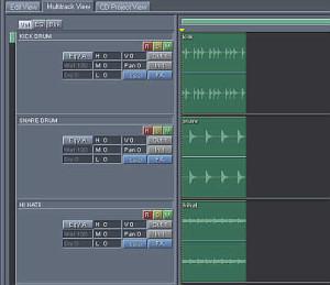 adding all drum tracks in multi-track project