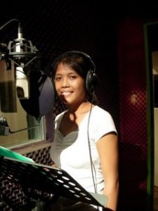 Artist in studio booth