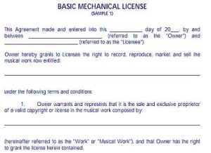 mechanical licensing agreement 1