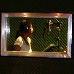 Background vocalist in the recording studio