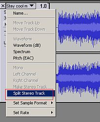 Split stereo track screenshot