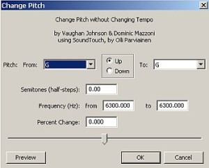 Change Pitch effect tool in Audacity