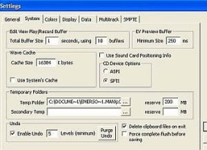 adobe audition system settings