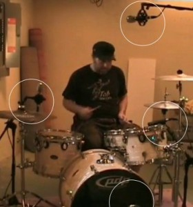 Positioning four microphones on drums