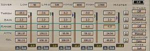LinMB multiband compressor adjusting range