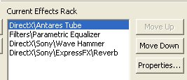 Current effects rack Adobe audition