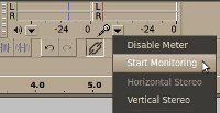 Start monitoring in Audacity