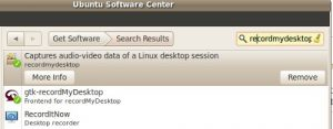 Ubuntu software center Record My Desktop