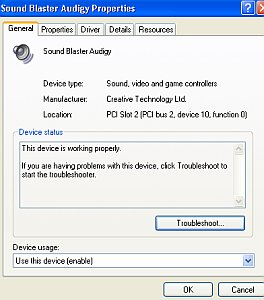 soundcard properties in windows xp
