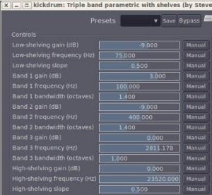 Kick drum parametric equalizer settings