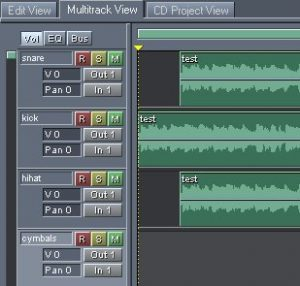 multitrack session creation using drums