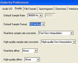 Audacity high resolution recording settings