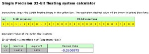 32 bit example calculation to decimal