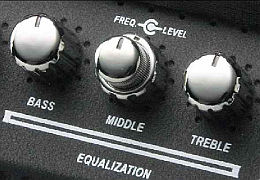 guitar amplifier EQ control knobs