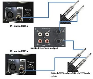 M-audio BX5a connected to Firewire or USB interface
