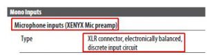 balance XLR input for microphone