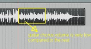Guitar volume very low in chorus