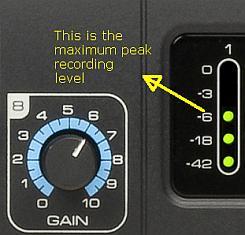 peak level during recording Saffire Pro 40