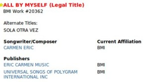 BMI complete listing with music publishers