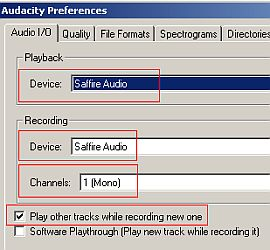 Audacity Input/Output Devices