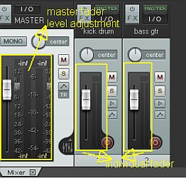 Master and individual faders in Reaper DAW