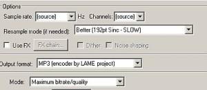 MP3 output settings