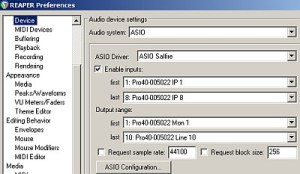Reaper audio device configuration