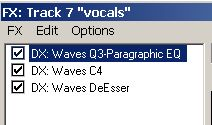 Effects rack for vocals
