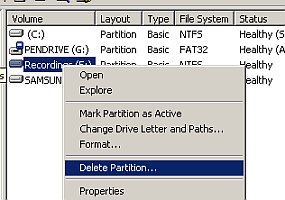 Delete partition for free space