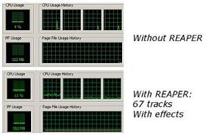 CPU and memory usage of REAPER